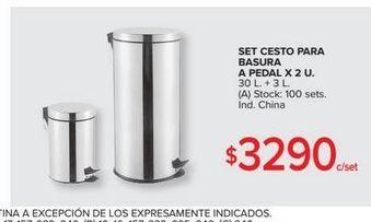 Oferta de Set cesto para basura a pedal x 2u 30l  por $3290