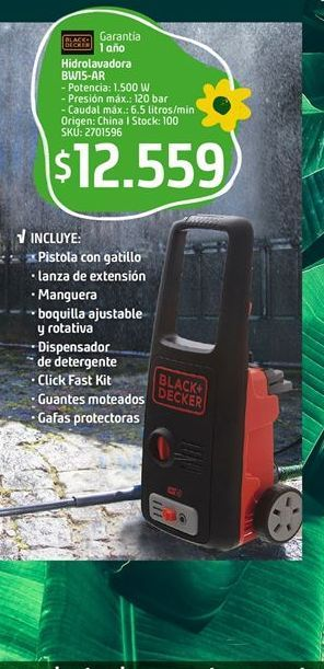Oferta de Hidrolavadora Black & Decker por