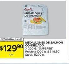 Oferta de Medallones de salmon congelado x 200g  por $129,9