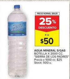 Oferta de Agua mineral s/gas x 2000cc  Sierra de los Padres por $50
