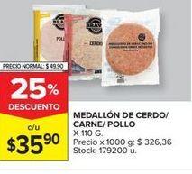 Oferta de Medallon de cerdo/carne/pollo x 110g  por $35,9