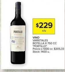 Oferta de Vino VARIETALES BOTELLA X 750CC portillo  por $229