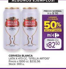 Oferta de Cerveza blanca lata x 473cc Stella Artois por $82,5