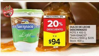 Oferta de Dulce de leche descremado x 400g San Ignacio por $94
