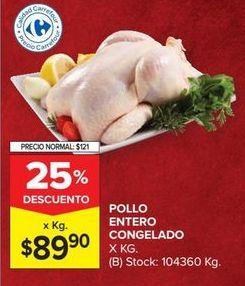 Oferta de Pollo entero congelado por $89,9