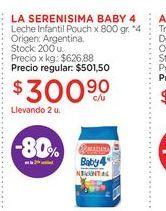 Oferta de LA SERENISIMA BABY 4Leche Infantil Pouch x 800 gr. por $300,9
