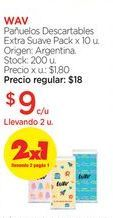 Oferta de WAVPañuelos Descartables Extra Suave Pack x 10 u. por $9