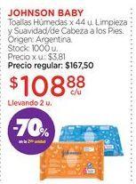 Oferta de JOHNSON BABYToallas Húmedas x 44 u. por $108,88