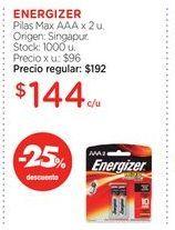 Oferta de ENERGIZERPilas Max AAA x 2 u. por $144