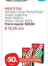 Oferta de MENTITASMentitas x 26 gr.  Menta/frutal por $15,25