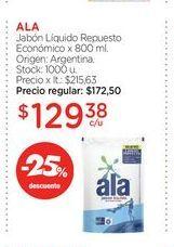 Oferta de ALAJabón Líquido Repuesto Económico x 800 ml. por $129,38