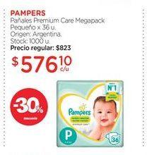 Oferta de PAMPERSPañales Premium Care Megapack Pequeño x 36 u. por $576,1
