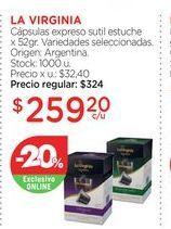 Oferta de LA VIRGINIACápsulas expreso sutil estuche x 52gr. por $259,2