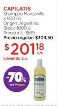 Oferta de CAPILATISShampoo Manzanilla x 500 ml. por $201,18