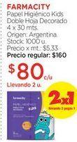 Oferta de FARMACITYPapel Higiénico Kids Doble Hoja Decorado 4 x 30 mts. por $80