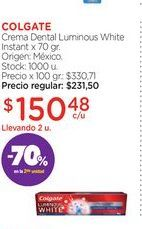 Oferta de COLGATECrema Dental Luminous White Instant x 70 gr. por $150,48