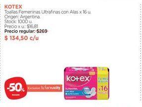 Oferta de KOTEXToallas Femeninas Ultrafinas con Alas x 16 u. por $134,5