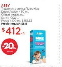 Oferta de ASSYTratamiento contra Piojos Max Doble Acción x 60 ml. por $412
