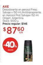 Oferta de Desodorante en aerosol Fresc Salvaje x 150 ml./Antitranspirante en Aerosol Prot Salvajex 152 ml. por $87,6