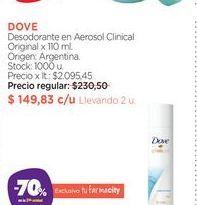 Oferta de DOVEDesodorante en Aerosol Clinical Original x 110 ml. por $149,83