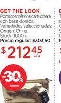 Oferta de GET THE LOOKPortacosméticos cartuchera con base dorada. por $212,45