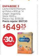 Oferta de ENFABEBE 3Leche Infantil Premium en Polvo x 800 gr. por