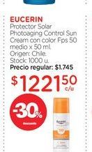 Oferta de EUCERIN	Protector Solar Photoaging Control Sun Cream con color Fps 50 medio x 50 ml. por $1221,5