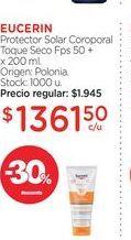 Oferta de EUCERINProtector Solar Coroporal Toque Seco Fps 50 + x 200 ml. por $1361,5