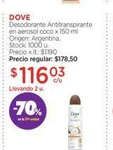 Oferta de DOVEDesodorante Antitranspirante en aerosol coco x 150 ml. por $116,03