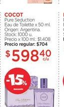 Oferta de COCOT	Pure Seduction Eau de Toilette x 50 ml. por $598,4