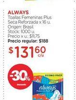 Oferta de ALWAYSToallas Femeninas Plus Seca Reforzada x 16 u. por $131,6