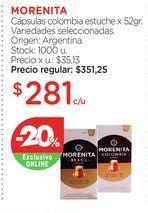 Oferta de MORENITACápsulas colombia estuche x 52gr. por $281