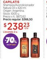 Oferta de CAPILATISShampoo/Acondicionador Natura Oil x 420 ml. por $238,23