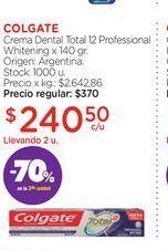 Oferta de COLGATECrema Dental Total 12 Professional Whitening x 140 gr. por $240,5