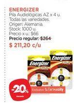 Oferta de ENERGIZERPila Audiológicas AZ x 4 u. por $211,2