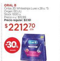 Oferta de ORAL BCintas 3D Whitestrips Luxe x 28 u. por $2212,7
