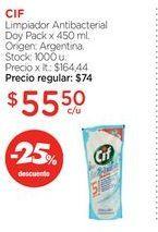 Oferta de CIFLimpiador Antibacterial Doy Pack x 450 ml. por $55,5