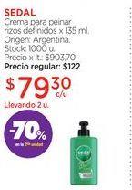 Oferta de SEDALCrema para peinar rizos definidos x 135 ml. por $79,3