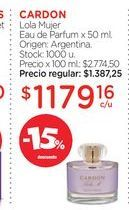 Oferta de CARDONLola Mujer Eau de Parfum x 50 ml. por $1179,16