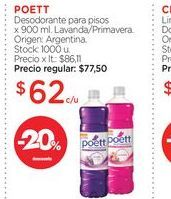 Oferta de POETTDesodorante para pisos x 900 ml. por $62