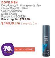 Oferta de DOVE MENDesodorante Antitranspirante Men Clinical Original x 110 ml. por $149,18