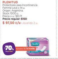 Oferta de PLENITUDProtectores para Incontinencia Femme Leve x 14 u. por $97,5