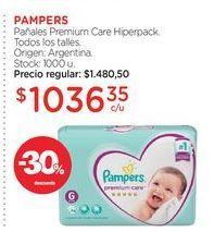 Oferta de PAMPERSPañales Premium Care Hiperpack. por $1036,35