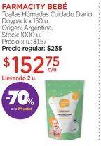 Oferta de FARMACITY BEBÉToallas Húmedas Cuidado Diario Doypack x 150 u. por $152,75