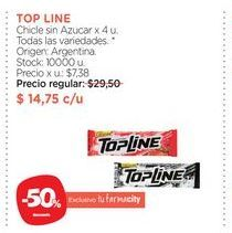 Oferta de TOP LINEChicle sin Azucar x 4 u. por $14,75