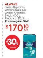 Oferta de ALWAYSToallas Higienícas Ultrafina Día x 16 u. por $170,1