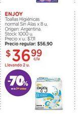 Oferta de ENJOYToallas Higiénicas normal Sin Alas x 8 u. por $36,99