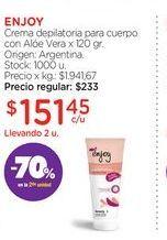 Oferta de ENJOYCrema depilatoria para cuerpo con Alóe Vera x 120 gr. por $151,45