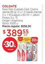 Oferta de Pack Mes Cuidado Oral: Crema dental 90 gr. 2 u.+ 2 Cepillo Dental 2 u. + Enjuague x 60 ml. + Jabón Protex 2 u. por $389,55