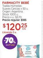 Oferta de FARMACITY BEBÉToallas Húmedas Suaves Caricias x 50 u. por $120,25